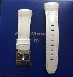 Authentic TechnoMarine White Leather with Silver Buckle for