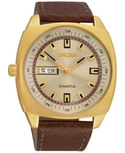Seiko Men's Automatic Brown Leather Strap Watch 44mm SNKN02