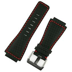 B & R Bands Black Carbon Fiber Style Red Stitch Bell & Ross