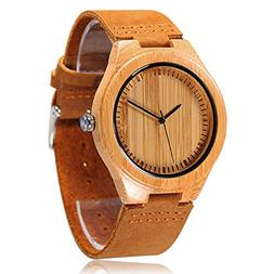 CUCOL Men's Bamboo Wooden Watch with Brown Cowhide Leather S