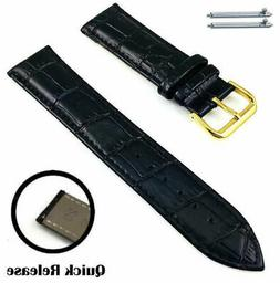 Black Croco Genuine Leather Replacement Watch Band Strap Gol