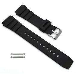 Black Rubber Silicone Diver's Style Replacement Watch Band S