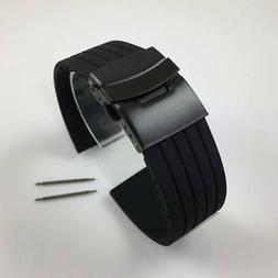 Black Rubber Silicone Replacement Watch Band Strap PVD Doubl