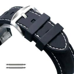 Black Rubber Silicone Replacement Watch Band Strap Buckle Wh