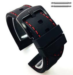 Black Rubber Silicone Replacement Watch Band Strap Buckle Re