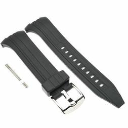 Seiko Black Rubber Watch Band Chronograph SNAD33 SNAD35 SNAD