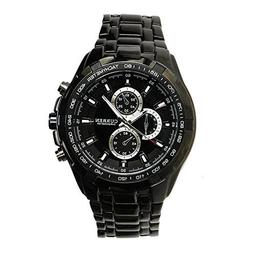 Fashion Black Stainless Steel Luxury Sport Analog Quartz Clo