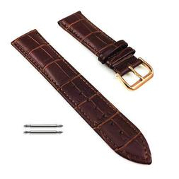 Brown Croco Leather Replacement Watch Band Strap Rose Gold S