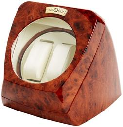 Diplomat Burl Wood Double Watch Winder with Off-White Leathe