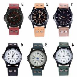 Casual Men's Sport Watches Army Military Leather Band Quartz