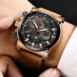 LIGE Casual Sport Watches Waterproof Luminous Leather Band M