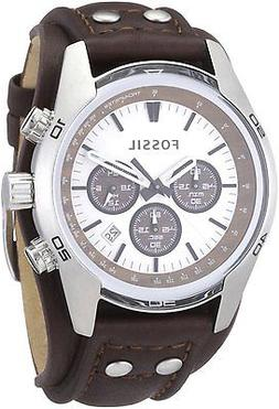 Fossil Men's 'Sport Cuff' Quartz Stainless Steel and Leather