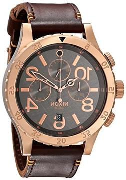 Nixon Men's 48mm Chronograph Brown Calfskin Stainless Steel