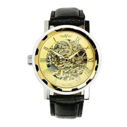 Classic Mens Black Leather Gold Dial Skeleton Mechanical Spo