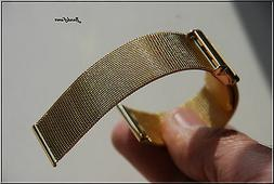 16mm ALL GOLD MESH WATCH BAND,Bracelet Two pices Bulova accu