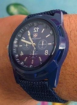 Cool Summer Blue Color Military Army Pilot Fabric Strap Spor