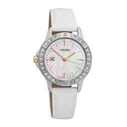 Seiko Womens Crystal-Accent Silver-Tone Dial White Leather S
