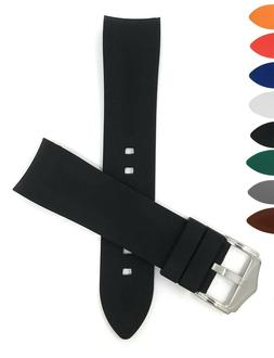Bandini Curved End Silicone Watch Band, Rubber Strap, Many C