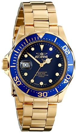 Invicta Men's Pro Diver Blue Dial 18K Gold Plated Stainless