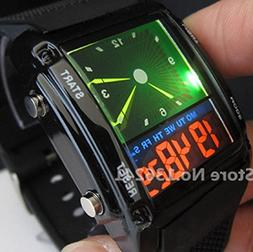 Hot Design Double Movement Colorful LED Analog and Digital M