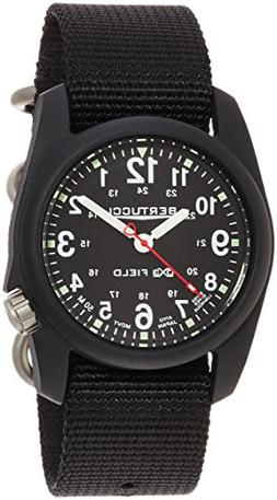 Bertucci DX3 Field Poly Resin Watch, Black Nylon Strap, Blac