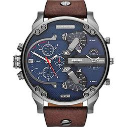 Diesel Men's DZ7314 Mr Daddy 2.0 Gunmetal Brown Leather Watc