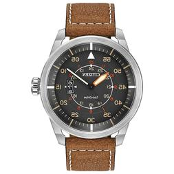 Citizen Men's Eco-Drive Brown Leather Strap Watch with Date,