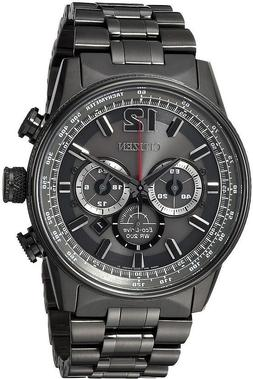 Citizen Eco-Drive NightHawk Grey IP Steel Bracelet Men's Wat