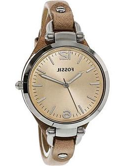 Fossil Women's Georgia Quartz Stainless Steel and Leather Ca