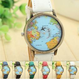 Fashion Men Womens Watch Leather Band World Map Dial Analog