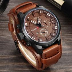 Fashion Curren Mens Date Stainless Steel Leather Analog Quar