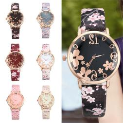 Fashion Womens Embossed Flowers Printed Leather Band Quartz