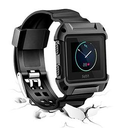 Fitbit Blaze Watch Band with Case, Rugged Protective Frame R