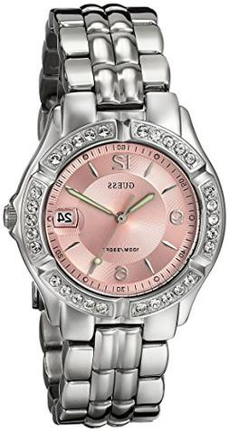 GUESS Women's G75791M Sporty Silver-Tone Watch with Pink Dia