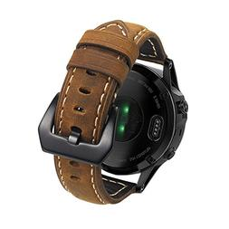 Shangpule Garmin Fenix 5 Watch Band, 22mm Genuine Leather St