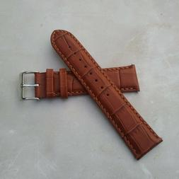 SIGNATURE GENUINE LEATHER WATCH BAND WITH ALLIGATOR PATTERN