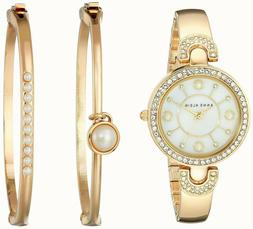 Anne Klein® Goldtone Pearl Bangle Watch Set