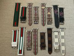 GG Colors Print Leather Luxury Apple Watch Band 38/40/42/44m