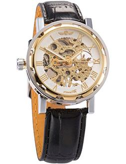 AMPM24 Men's Hand-winding Mechanical Watch Black Leather Wat