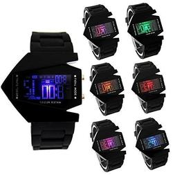 Hiwatch Elegant Plane Style Digital Display LCD 7 Colors Sil