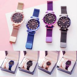 Hot Starry Sky Watch Waterproof Magnet Strap Buckle Stainles