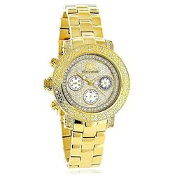 Large Iced Out Face Womens Diamond Watch Yellow Gold Plated