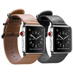 For iWatch Apple Watch Series 3 2 1 42mm Genuine Leather Ban