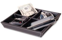 Jeffrey 8 Inch Valet Tray - 4 Compartment Leatherette Organi