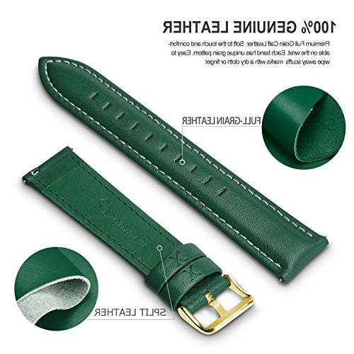 12 Release Leather Band, Fullmosa Leather Watch Strap Green-GD