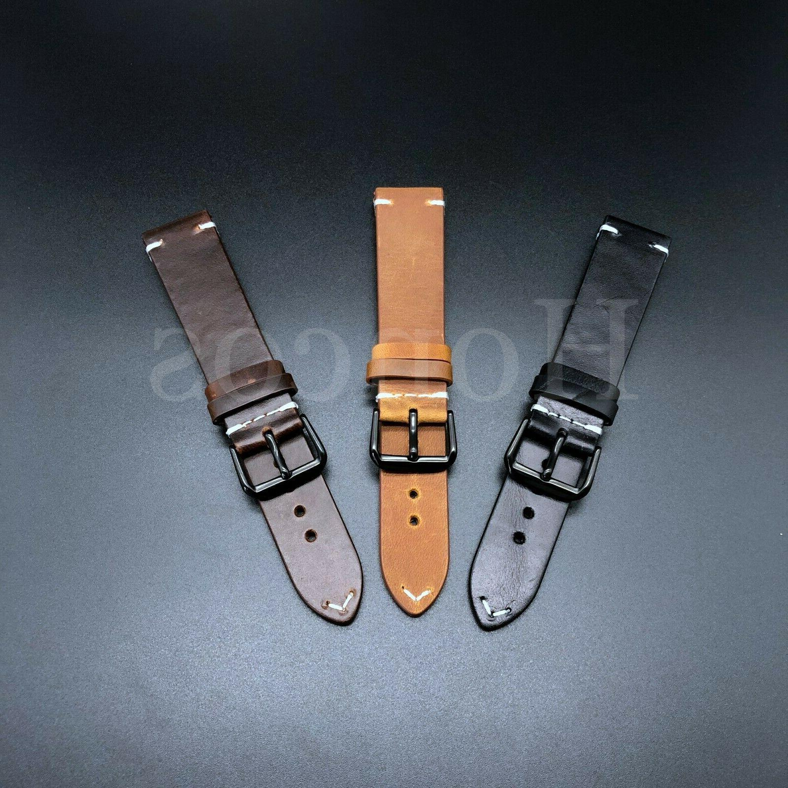 18-24 Leather Watch Band Brown Black Fits for Rolex