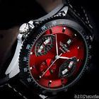 2017 New Mens Sport RED Black Leather Date Automatic Mechani