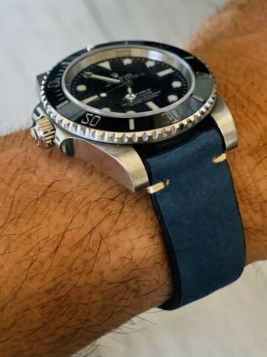 20mm Blue Leather watch band strap Nubuck