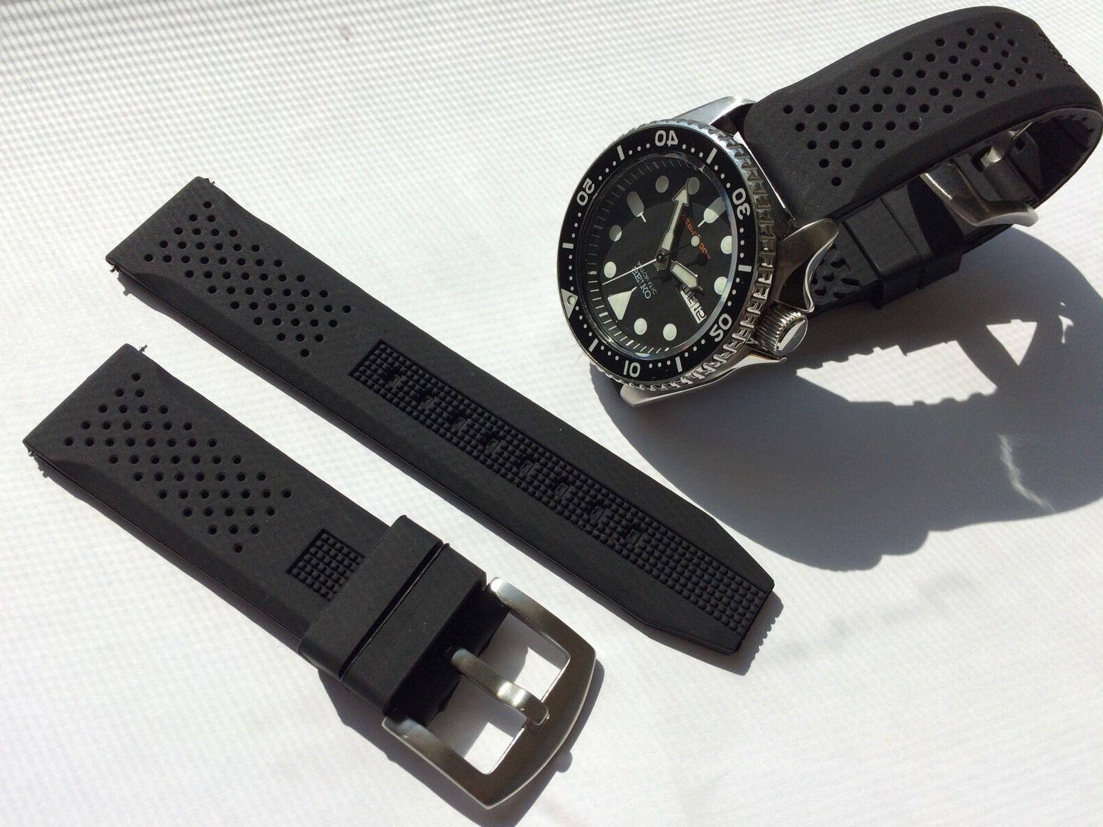 22mm Silicone Watch Band Seiko Scuba fit 22mm