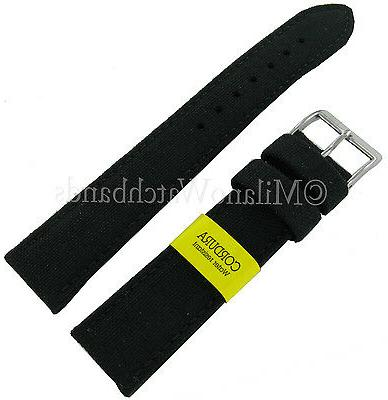 24mm Genuine Cordura Black Watch Band Strap